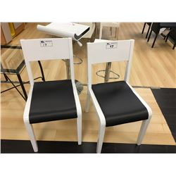 2 MODERN WHITE & BLACK DINNING SIDE CHAIRS
