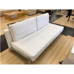 MODERN WHITE LEATHER & CHROME STITCHED SOFA BED