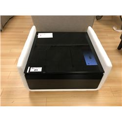 WHITE MODERN LEATHER & BLACK GLASS END TABLE
