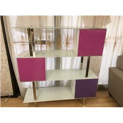 WHITE MODERN FROSTED GLASS 3 DOOR BOOKCASE