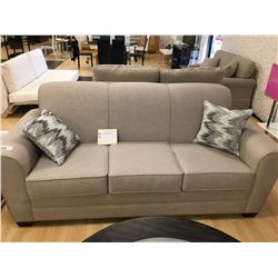 MODELLED GREY FABRIC 3 SEAT SOFA & LOVESEAT WITH 4 THROW PILLOWS