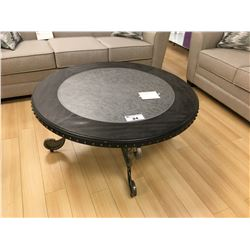"42"" ROUND DARK WOOD & METAL COCKTAIL TABLE"