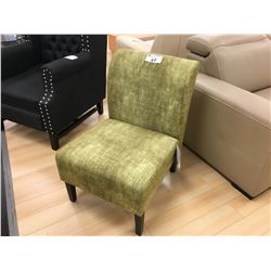 MODELLED GREEN FABRIC ACCENT CHAIR