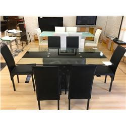 ASHLEY SIGNATURE BLACK & GLASS 7 PCS DINNING SET INCLUDING: GLASS TOP TABLE, 6 BLACK LEATHER SIDE