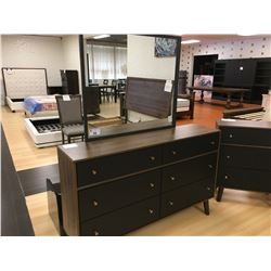 MODERN WALNUT & BLACK 5 PCS QUEEN BEDROOM SET INCLUDING: QUEEN BED, NIGHT STAND, 3 DRAWER DRESSER,