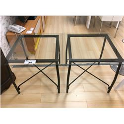 PAIR OF MODERN GLASS & METAL END TABLES