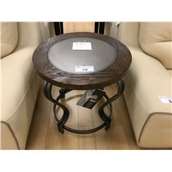 "ASHLEY SIGNATURE 23"" ROUND DISTRESSED WOOD & METAL END TABLE"