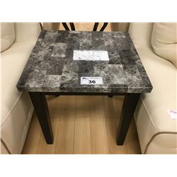MODERN GREY FAUX GRANITE & BLACK END TABLE