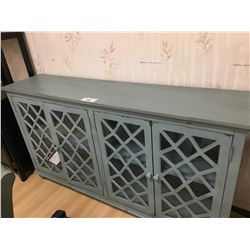 ASHLEY SIGNATURE ANTIQUE BLUE AND GLASS 4 DOOR ACCENT CABINET
