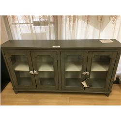 ASHLEY SIGNATURE ANTIQUE GREY AND GLASS 4 DOOR ACCENT CABINET