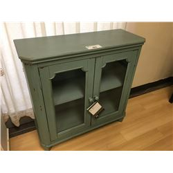 ASHLEY SIGNATURE ANTIQUE BLUE AND GLASS 2 DOOR ACCENT CABINET