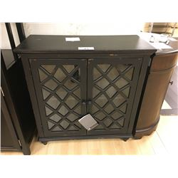 ASHLEY SIGNATURE ANTIQUE BLACK AND GLASS 2 DOOR CABINET