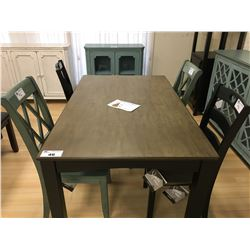 ASHLEY SIGNATURE GREY WOOD AND BLACK 5 PCS DINING TABLE SET INCLUDING: TABLE & 4 CHAIRS