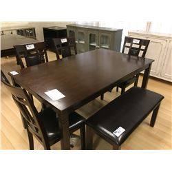 ASHLEY SIGNATURE DARK WOOD 6 PCS DINING TABLE SET INCLUDING: 4 LEATHER & WOOD SIDE CHAIRS, DINING