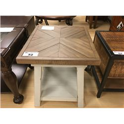 DISTRESSED WOOD AND GREY RECTANGULAR END TABLE