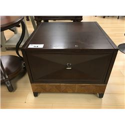 MODERN DARK WOOD SINGLE DRAWER SQUARE END TABLE