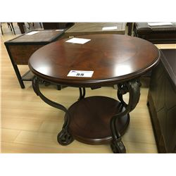 "DARK WOOD AND METAL 28"" ROUND END TABLE"