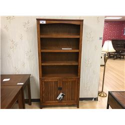 ASHLEY SIGNATURE CHERRY 4 TIER 2 DOOR BOOKCASE