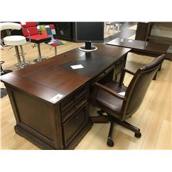 DARK WOOD 6 DRAWER EXECUTIVE OFFICE DESK WITH MOBILE CHAIR
