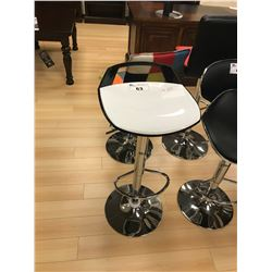 MODERN WHITE AND BLACK GAS LIFT BAR CHAIR