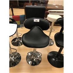 MODERN BLACK LEATHER AND CHROME GAS LIFT BAR CHAIR