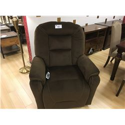 BROWN MICROFIBER POWERLIFT RECLINE ARM CHAIR