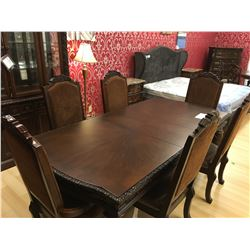 ASHLEY SIGNATURE 11 PCS DARK WOOD TRADITIONAL DINING SET INCLUDING: SCROLL TABLE, LEAF,