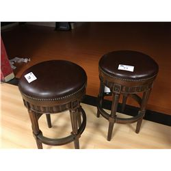 PAIR OF DARK WOOD  AND LEATHER STUDDED BAR STOOLS