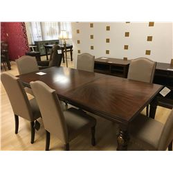 ASHLEY SIGNATURE 8 PCS DARK WOOD LEAF LEG DINING TABLE SET INCLUDING: TABLE, LEAF, 6 FABRIC