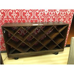 DARK WOOD INDUSTRIAL STYLE MOBILE WINE RACK