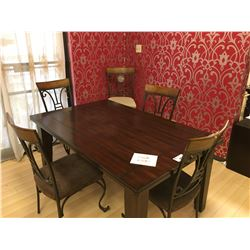 LARCHMONT DARK WOOD 6 PCS DINING TABLE SET INCLUDING: 4 METAL BACK SIDE CHAIRS, DINING TABLE AND