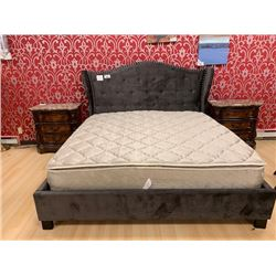 KING SIZE GREY FABRIC STUDDED WING BACK BED WITH MATTRESS