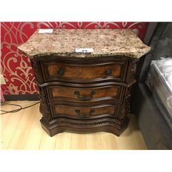 PAIR OF GRANITE TOP 3 DRAWER BIRDS EYE NIGHT TABLES