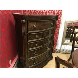 5 DRAWER DARK WOOD BIRDS EYE DRESSER
