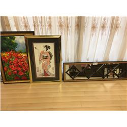 FRAMED MIRROR, FRAMED CANVAS FLOWER AND ORIENTAL LADY ARTWORK