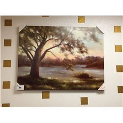 LARGE PAINTED CANVAS TREE ARTWORK