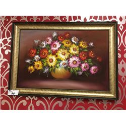 FRAMED PAINTED CANVAS FLOWER ARTWORK