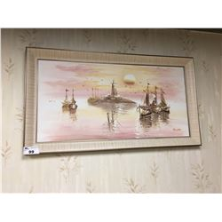 FRAMED PAINTED CANVAS BOAT ARTWORK