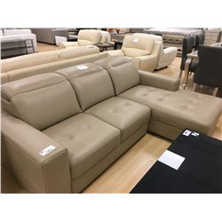 MODERN BEIGE LEATHER 3 SEAT LOUNGE SOFA