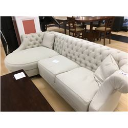 CREAM STUDDED FABRIC 3 SEAT LOUNGE SOFA