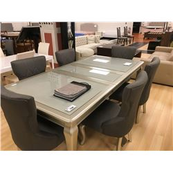 ASHLEY SIGNATURE SILVER AND GLASS TOP 8 PCS DINING SET INCLUDING: TABLE, LEAF AND 6 FABRIC SIDE