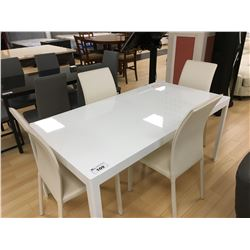 MODERN WHITE AND LEATHER 5 PCS DINING TABLE SET INCLUDING: TABLE AND 4 WHITE LEATHER SIDE CHAIRS