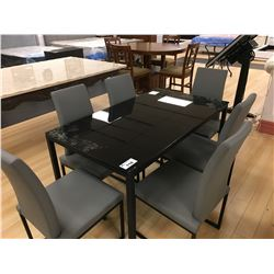 MODERN BLACK GLASS AND GREY LEATHER 7 PCS DINING TABLE SET INCLUDING: TABLE AND 6 GREY LEATHER SIDE