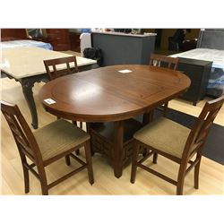 ASHLEY SIGNATURE CHERRY 5 PCS BAR HEIGHT DINING TABLE SET INCLUDING: TABLE, LEAF AND 4 BAR CHAIRS