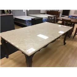 LARGE MARBLE TOP AND GREY WOOD TRADITIONAL DINING TABLE