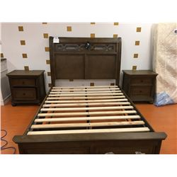 ASHLEY SIGNATURE DARK WOOD 4 PCS QUEEN STORAGE SLEIGH BED SET INCLUDING: QUEEN SLEIGH HEADBOARD,