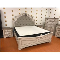 ASHLEY SIGNATURE ANTIQUE WHITE FABRIC PADDED QUEEN 4 PCS BEDROOM SET INCLUDING: QUEEN BED, 5 DRAWER