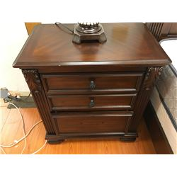 QUEEN 2 PCS DARK WOOD PANEL BED AND 3 DRAWER NIGHT STAND