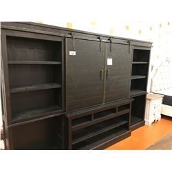 LARGE DARK WOOD BARN DOOR ENTERTAINMENT WALL UNIT
