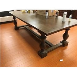 LARGE DISTRESSED WOOD TRADITIONAL DINING TABLE